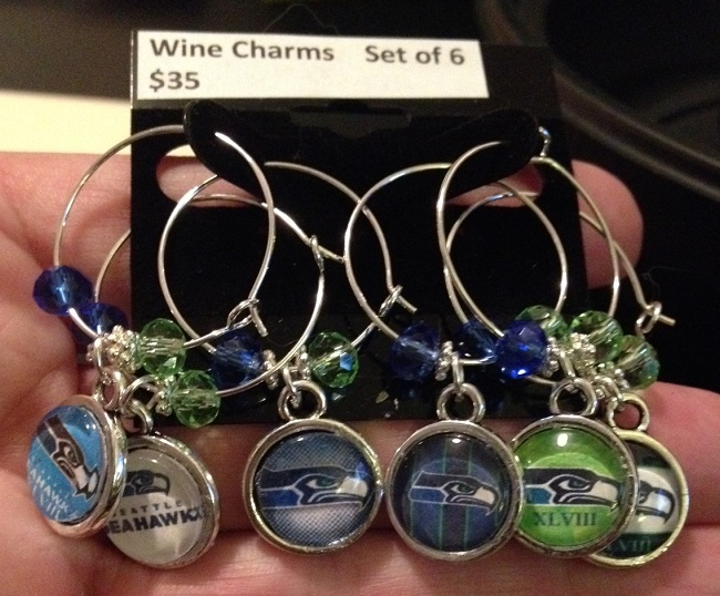 Seahawk wine charms